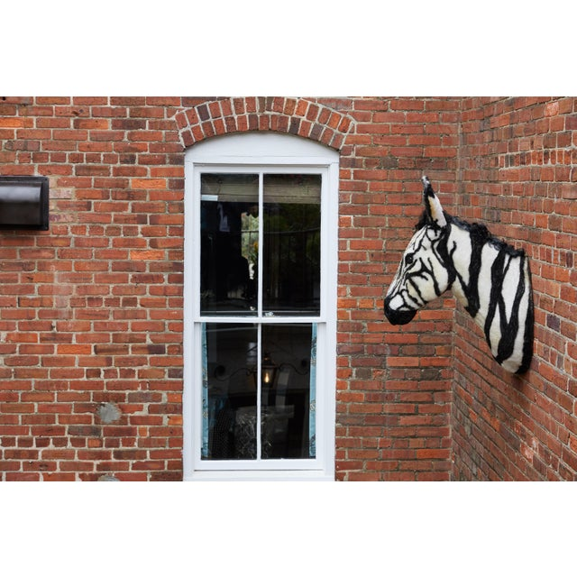 White Artisan Sculpture of Zebra Using Faux Materials For Sale - Image 8 of 9