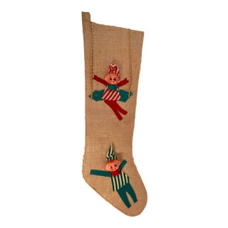 Vintage Burlap Elf Appliqués Holiday Stocking For Sale