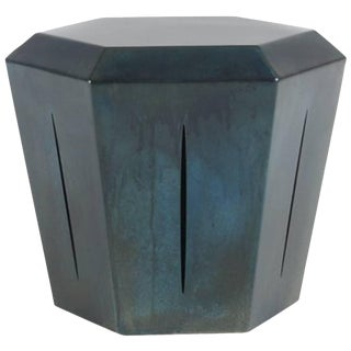 Hedra 14s, Steel Accent Table in Deep Blue Patina by Topher Gent For Sale