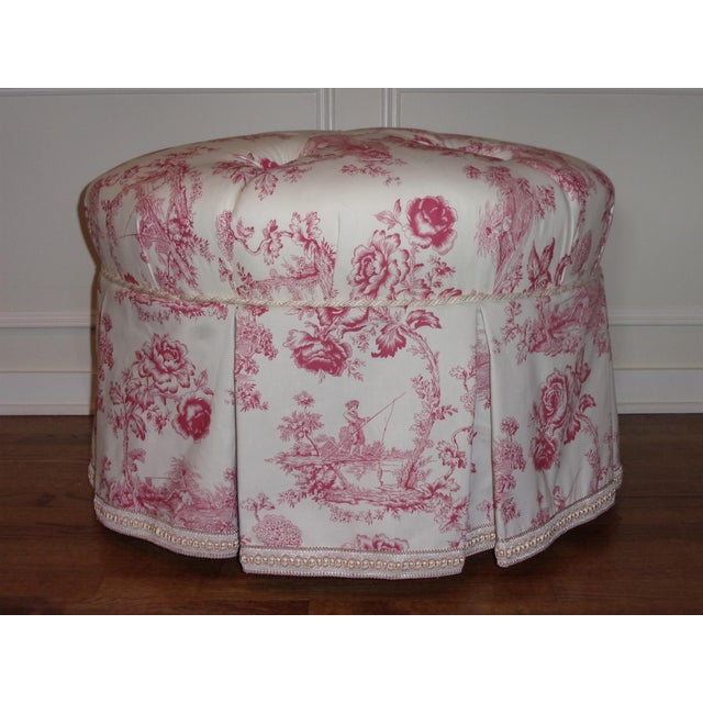 Rose French Rose Toile Ottoman With Custom Braid and Band Trims For Sale - Image 8 of 9