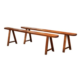 Pair of 19th Century French Provincial Carved Cherry Wood Trestle Benches For Sale