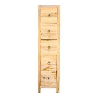 Chinese Raw Wood Slim 5 Drawers Narrow Cabinet For Sale