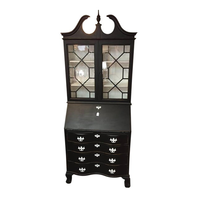 1950s Traditional Black Secretary Desk with China Cabinet Hutch For Sale
