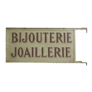"Vintage ""Bijouterie Joaillerie"" Riveted Double Sided Jewelry Sign For Sale"