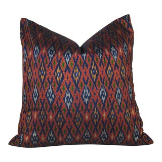 Thai Silk Ikat Diamond Pillow Cover For Sale