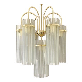 Vintage Brass and Glass Rod Chandelier After Gaetano Sciolari For Sale
