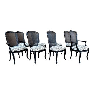 French Louis XVI Cane Back Chairs by Century Furniture - Set of 8 For Sale