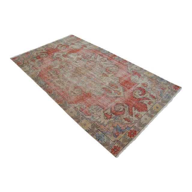 "Rug 4x8 Turkish Rug With Great Pops of Red, Vintage Hand Knotted Distressed Low Pile Runner,Romantic Shabby Chic Entry Oushak Rug 4'3""x7'5"" For Sale"