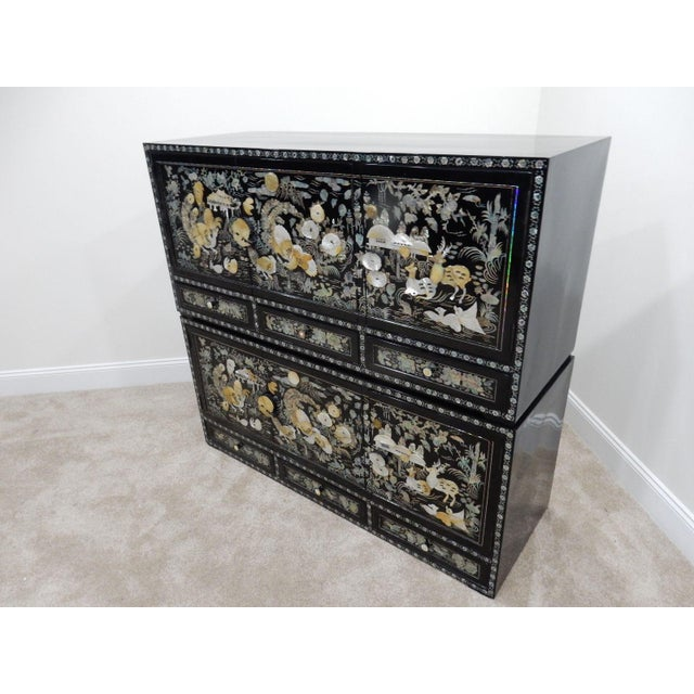 Chinese Mother of Pearl Inlaid Lacquered Cabinet For Sale - Image 6 of 11