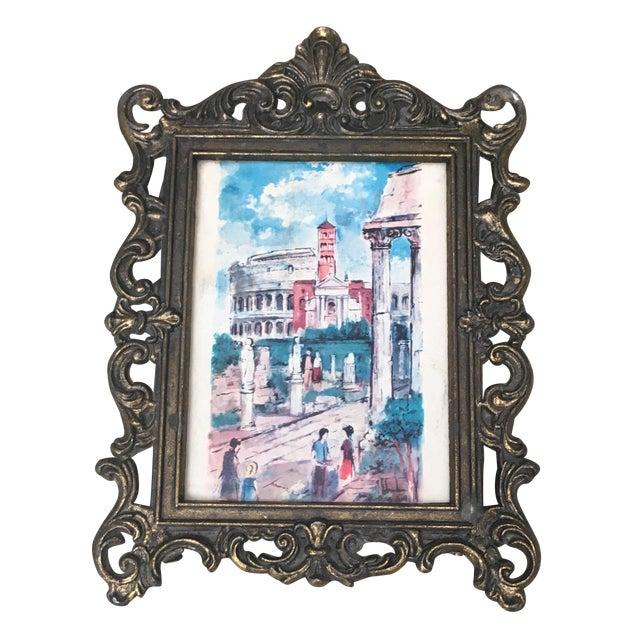 Italian Baroque Small Metal Frame & Illustration - Image 1 of 6
