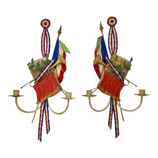 Pair of Italian Tole Sconces celebrating France For Sale