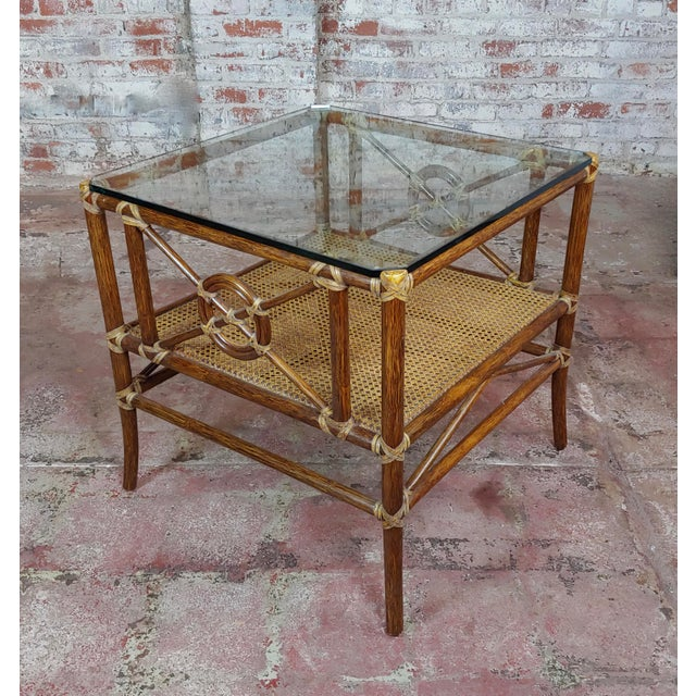 """McGuire Bamboo & Glass Top Side Lamp Tables -a Pair size 25 x 25 x 26"""" A beautiful piece that will add to your décor!"""