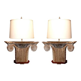 Pair of Architectural Fragments Mounted as Lamps For Sale