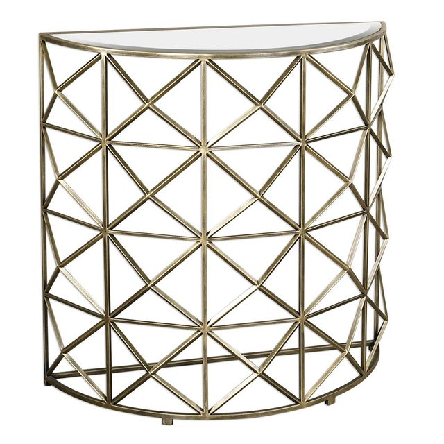 Gold Handforged Iron Geometric Console Table - Image 1 of 5
