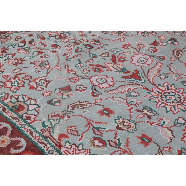 1950s Vintage Floral Wool & Cotton Kilim - 6′8″ × 9′4″ For Sale - Image 10 of 13