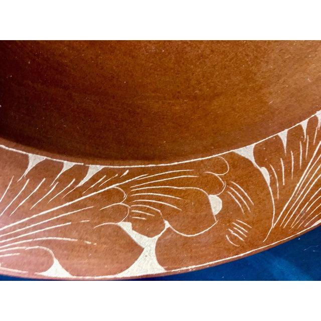 1970s 1970s Vintage Oversized Artisan Hand Burnished Terracotta Bowl For Sale - Image 5 of 12