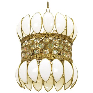 Brass Filigree and White Opalescent Glass Pendant Light For Sale