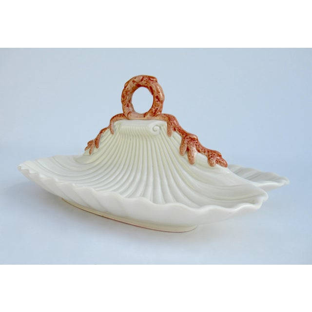 Vinatge Fitz & Floyd Divided Porcelain Ceramic Clam Shell Shaped Serving Dish For Sale In West Palm - Image 6 of 13
