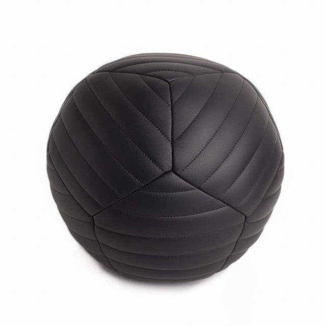 Modern Banded Ottoman in Black Leather by Moses Nadel For Sale - Image 3 of 8