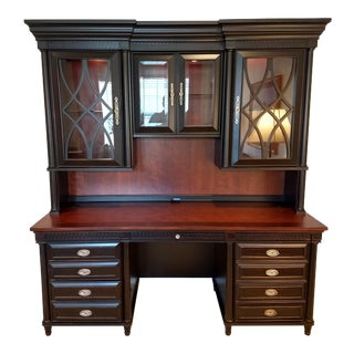 Great Home Office or Family/Student Study Center Gift: Elegant Office Credenza Desk & Credenza Hutch Combination (Aspenhome:) For Sale