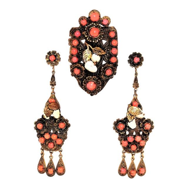 1920s Vintage Czech Faux-Coral Earrings and Dress Clip Set For Sale