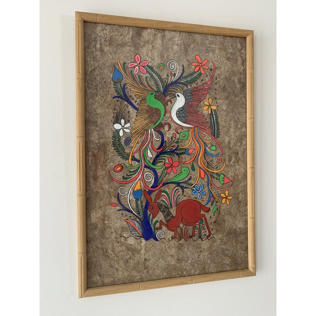 Mexican Folk Art Painting on Amate Bark Paper, Framed For Sale - Image 10 of 10
