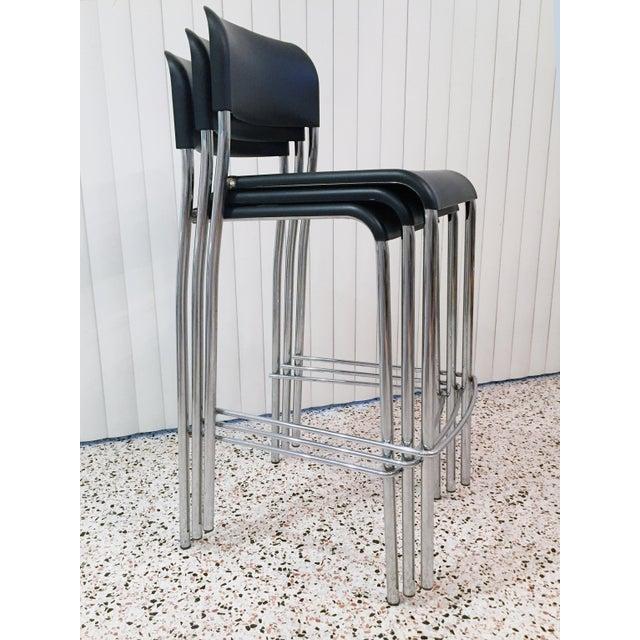 Italian Chrome Bar Stools - Set of 3 For Sale - Image 4 of 13
