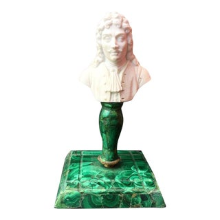 """Antique 19th Century Miniature """"Moliere"""" Bisque Bust on Malachite Stand For Sale"""