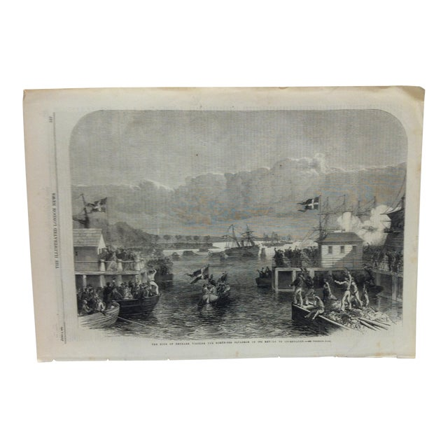 "1864 Antique Illustrated London News ""The King of Denmark Visiting the North Sea Squadron"" Print For Sale"