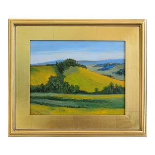 California Golden Foothills Landscape Oil Painting W/ Gold Leaf Frame