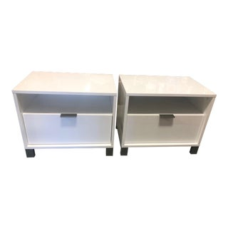 Modern White Lacquer Bedside Tables - A Pair For Sale