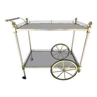Vintage French Style Bar Cart -Brushed Chrome and Brass