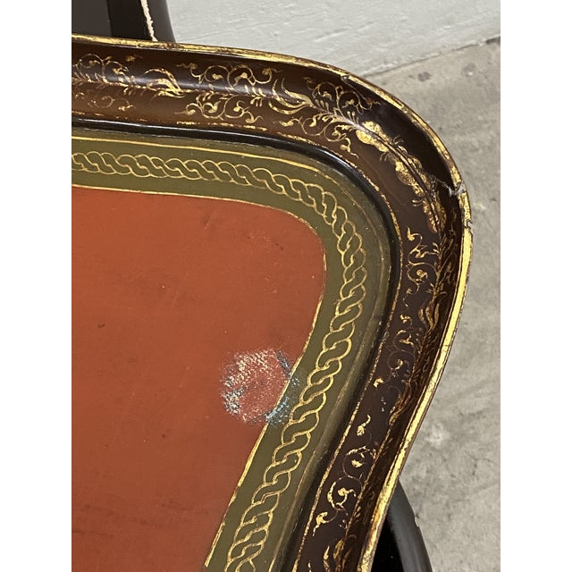 Red 19th Century Papier Mache English Chinoiserie Tray Table For Sale - Image 8 of 9
