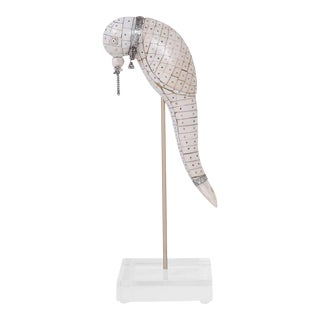 Midcentury Tessellated Bone Parrot on a Lucite Stand For Sale