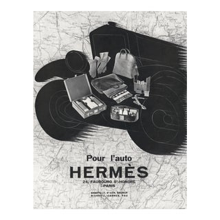 1928 Matted Art Deco French Hermes Car Travel Advertisement Print For Sale