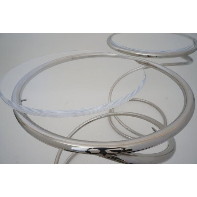 """Vintage Leon Rosen for Pace """"Spring"""" Coil Tables, Side or Drink, Nickel Plated With Lucite Tops - a Pair For Sale - Image 9 of 12"""