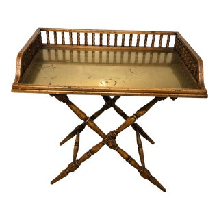 Vintage Butler's Tray Table With Brass Top For Sale