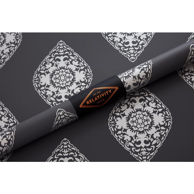 Boho Chic Boteh Silver Wallpaper For Sale - Image 3 of 4