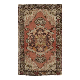 Vintage Turkish Soft Terracotta Yastik Hand Knotted Wool Rug - 1'11 X 3' For Sale
