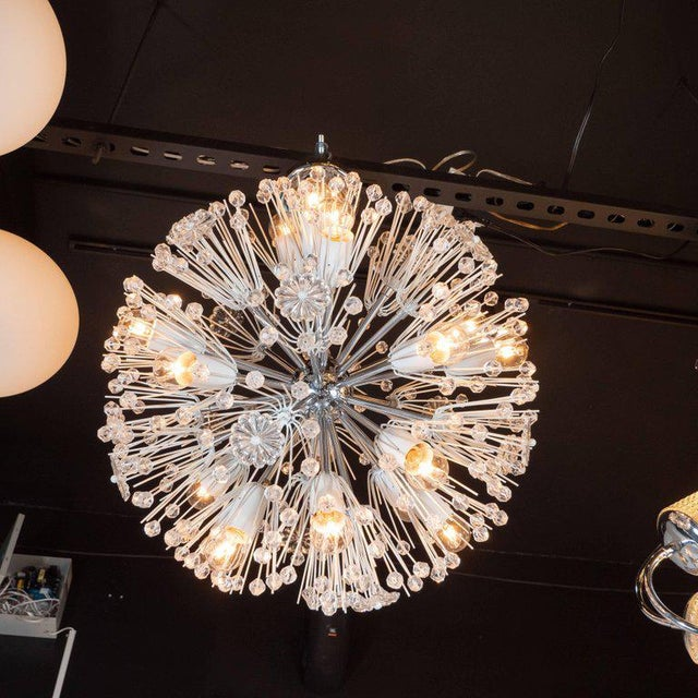 Silver Midcentury Crystal Sputnik Chandelier by Emil Stejnar for Rupert Nikoll For Sale - Image 8 of 9