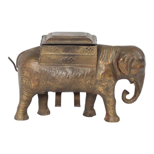 Antique Art Deco Cast Iron Elephant Cigarettes Holder and Dispenser For Sale