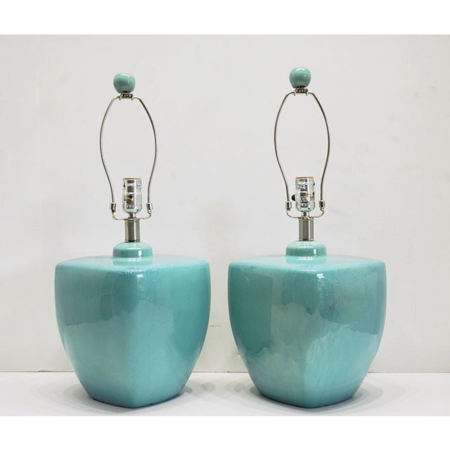Modern Turquoise Ceramic Table Lamps - a Pair For Sale - Image 9 of 10