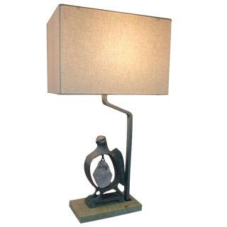 Paul Marra Cast Bronze Rock Dove Lamp in Silvered Bronze For Sale