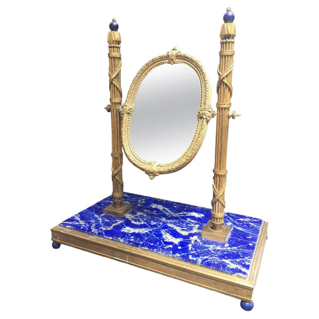 19th Century, French Bronze Doré Solid Lapis Lazuli Dressing Table Mirror For Sale