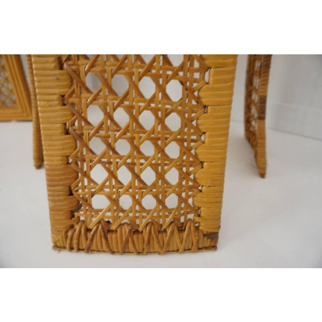 Italian Rattan Dining Chairs With French Caning by Vivai Del Sud - Set of 8 For Sale - Image 9 of 11