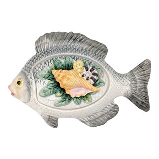 Vintage Nautical Fitz and Floyd Lidded Fish Bowl/ Dish For Sale