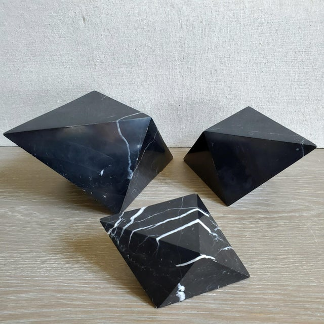 Geometric Octahedron Marble Sculptures - Set of 3 For Sale In Dallas - Image 6 of 12