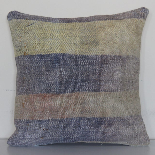 1960s Turkish Distressed Rug Pillow For Sale - Image 5 of 5