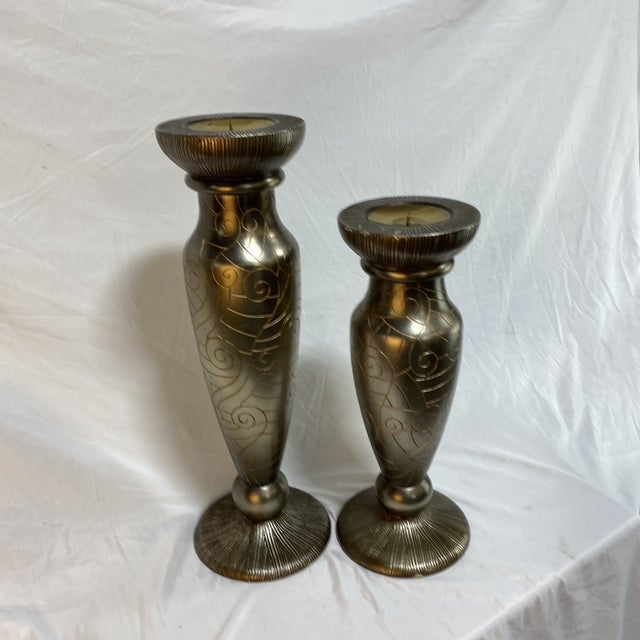 Contemporary Silver Leaf Artmax Candlesticks - a Pair For Sale - Image 3 of 12