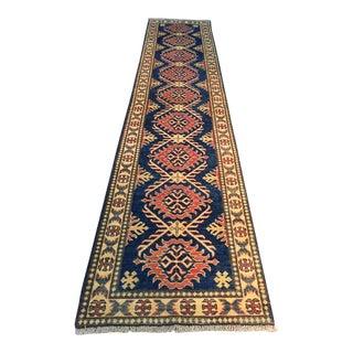 1970s Vintage Kazak Wool and Cotton Runner Rug - 2′6″ × 11′6″ For Sale